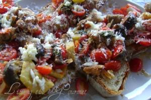 Veggie & Sausage Crostini