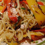 Grilled Peppers with Anchovies, Feta Cheese and Spaghetti
