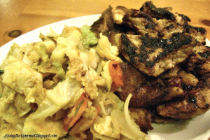 Marinated Grilled Pork with Sautéed Cabbage