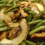 Grilled String Beans with Mushrooms & Onions