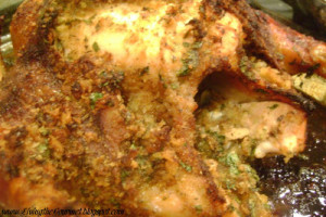 Oven Roasted Chicken with Orange Glaze & Bread Crumb Stuffing
