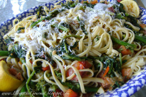 Broccoli Rabe with Tomatoes, Anchovies & Spaghetti!!