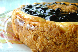 Sour Cream Cheesecake with Blueberry Topping