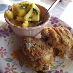 Oven Fried Chicken with Fresh Pineapple Side