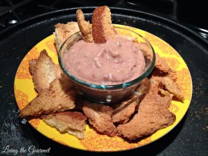 Artichoke & Red Bean Dip with Bread Crisps