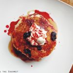 Pancakes with Blueberry Ginger Sauce
