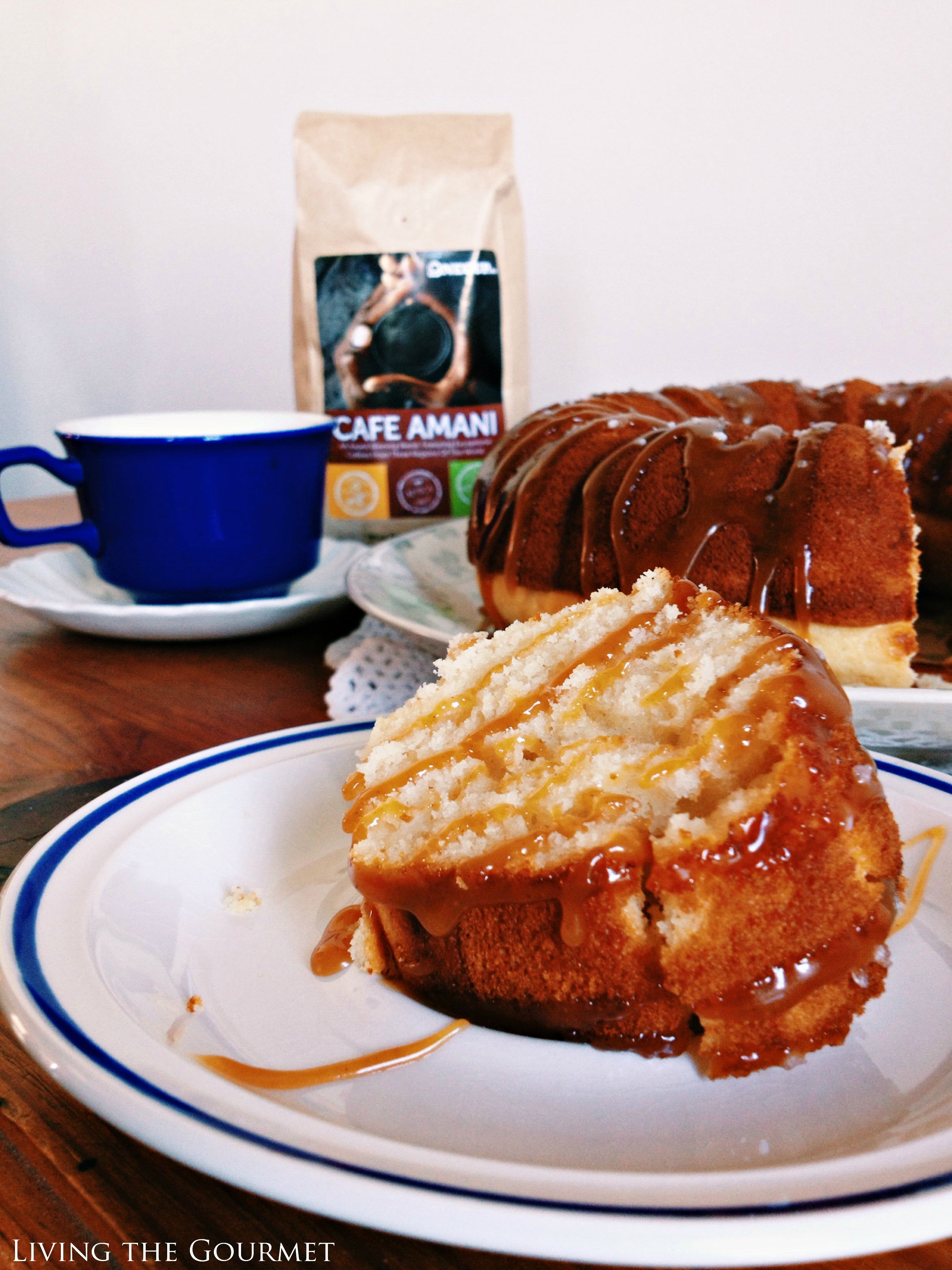 Living the Gourmet: Classic Vanilla Bundt Cake with a Salted Caramel Drizzle