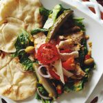 Chicken Salad with Fresh Salad Greens & Warm Naan