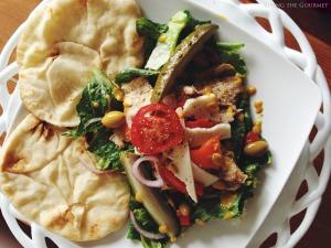 Chicken Salad with Fresh Salad Greens & Warm Naan