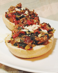 Roasted Peppers & Creamed Spinach Sausage Sandwich