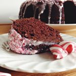 Chocolate Cake w/ Eggnog & Peppermint Drizzle #BundtBakers