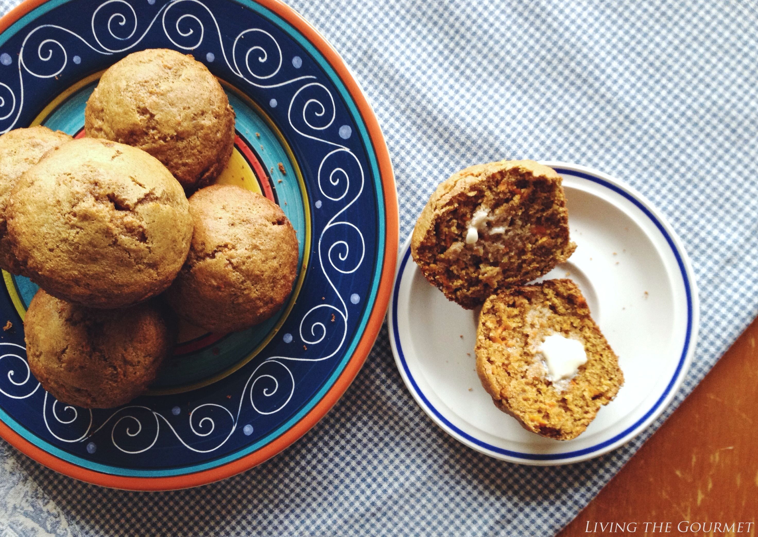 Living the Gourmet: Spelt Carrot and Ginger Muffins