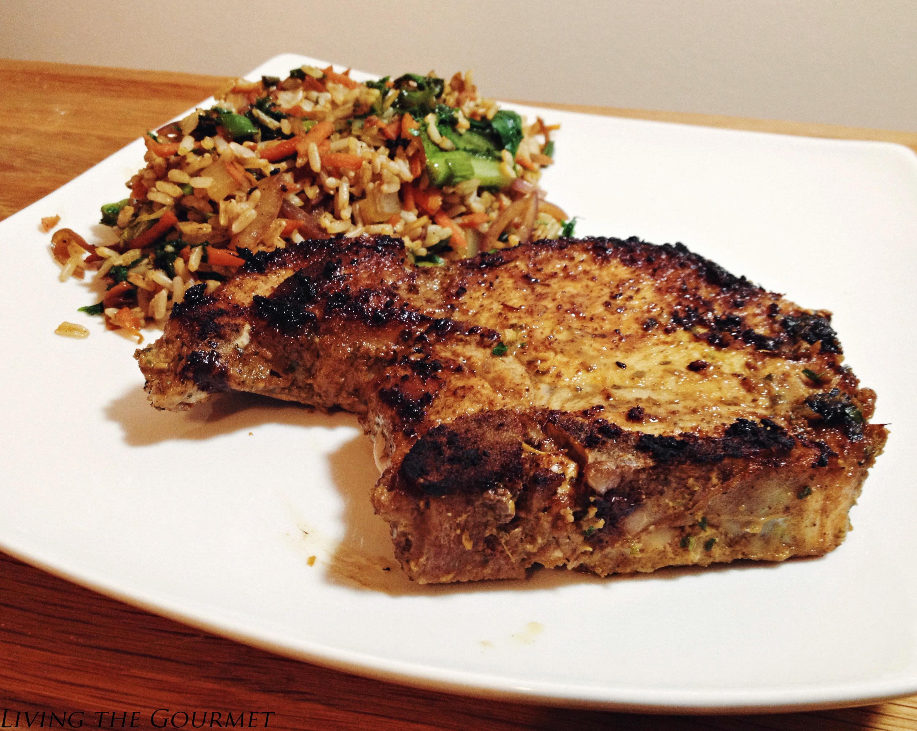 Living the Gourmet: Ginger & Mustard Pork Chops w/ Swiss Chard & Rice