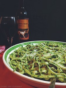 Arugula, Anchovies & Spinach Pesto with Fettuccine