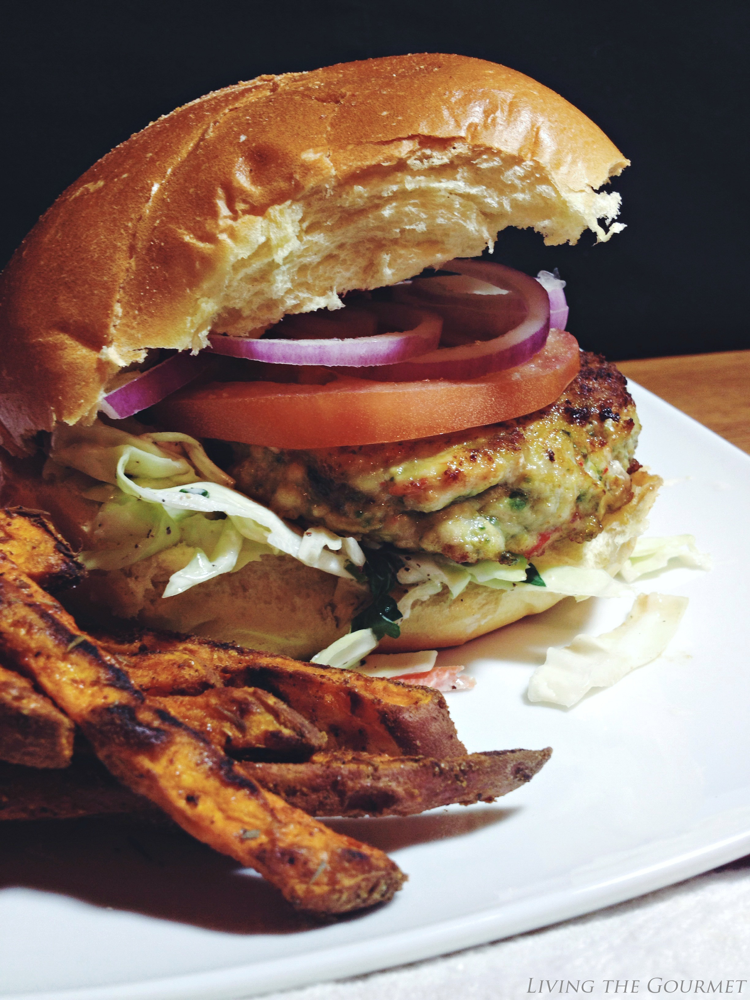 Living the Gourmet: Greek Style Chicken Burgers with Fresh Slaw and Sweet Potato Fries