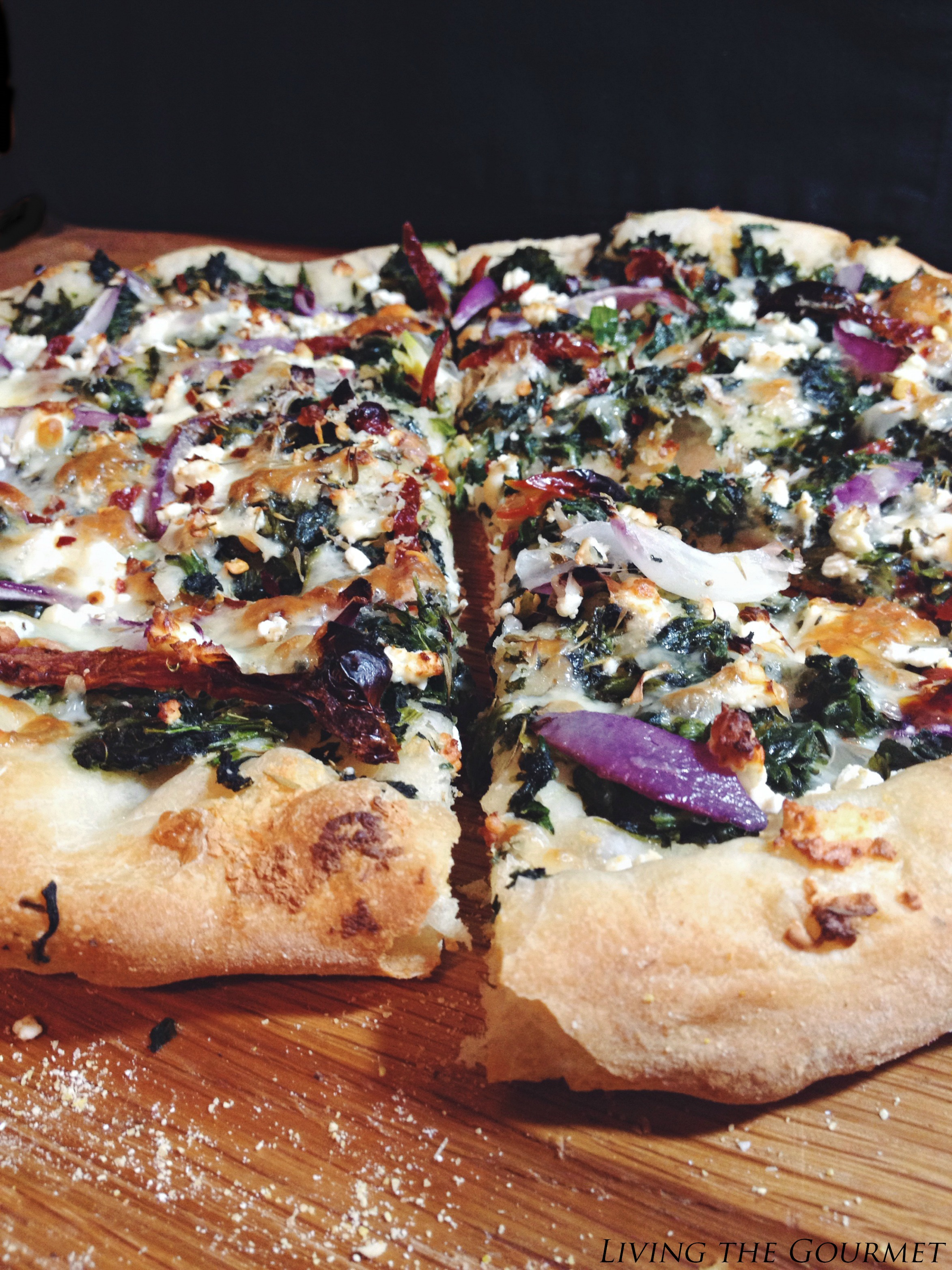 Living the Gourmet: Spinach & Feta Pizza