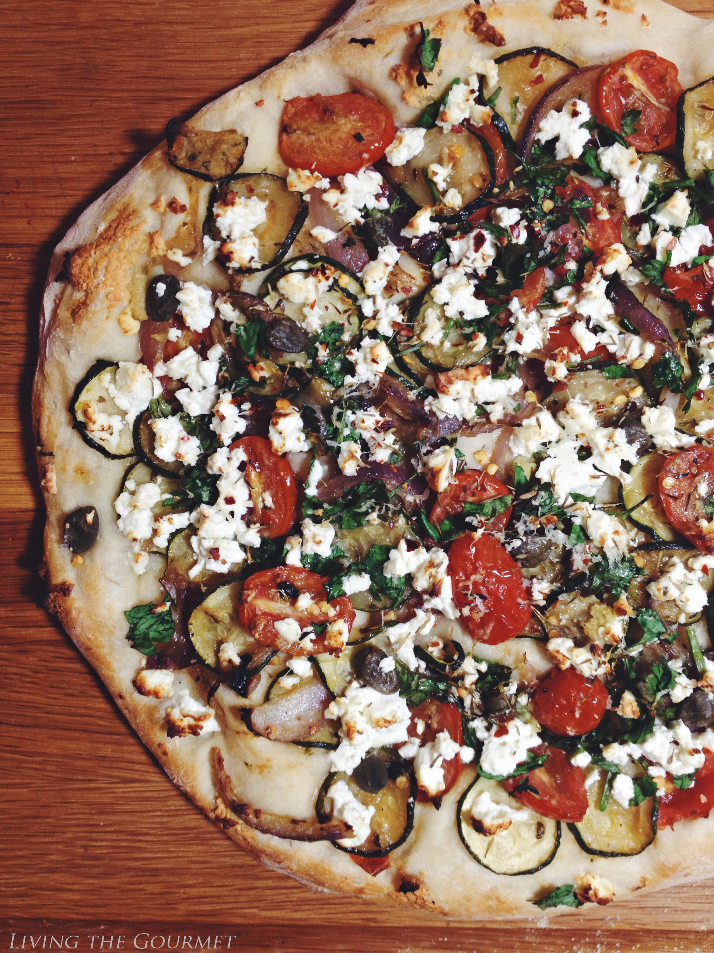 Living the Gourmet: Fresh Veggie & Feta Pizza
