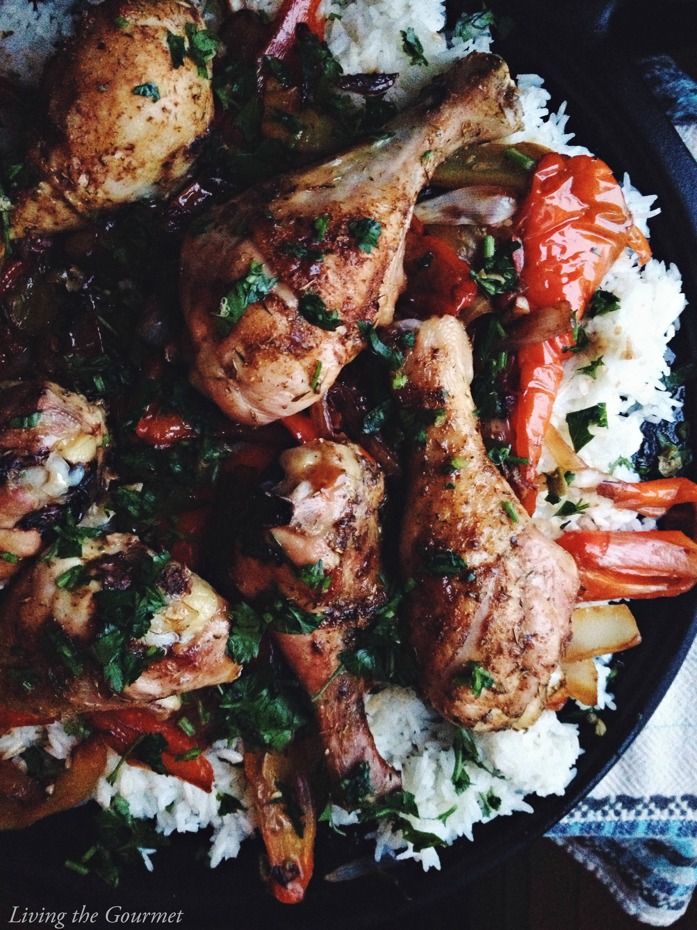 Living the Gourmet: Chicken Legs with Rice and Peppers