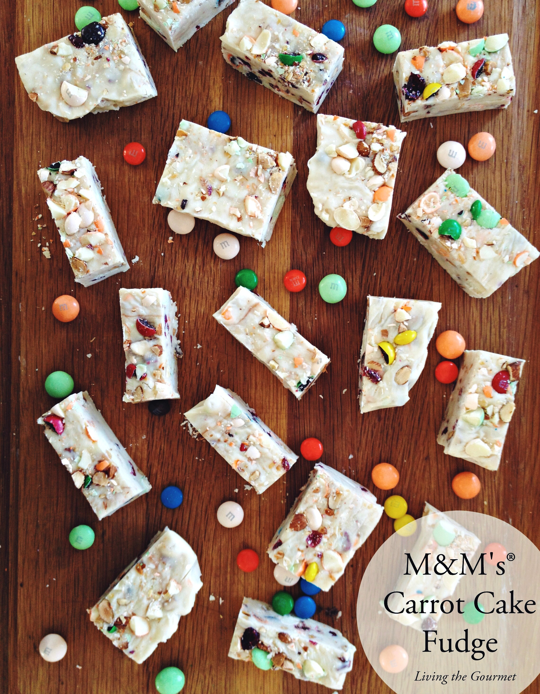 Living the Gourmet: M&M's® Carrot Cake Fudge