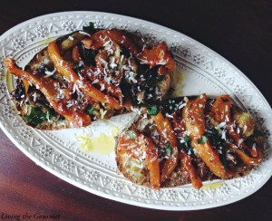Roasted Peppers & Eggplant Crostini