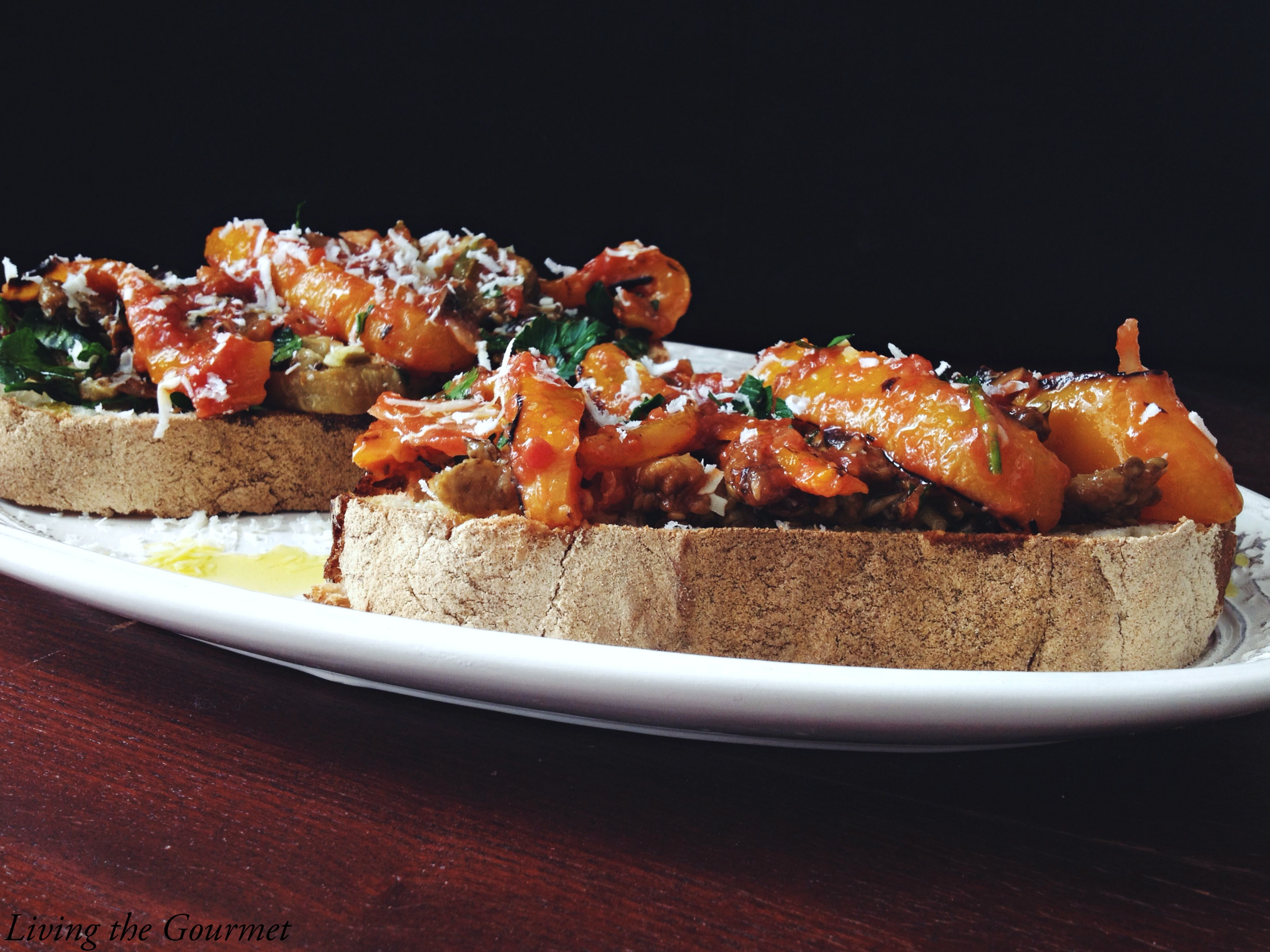 Living the Gourmet: Roasted Peppers & Eggplant Crostini