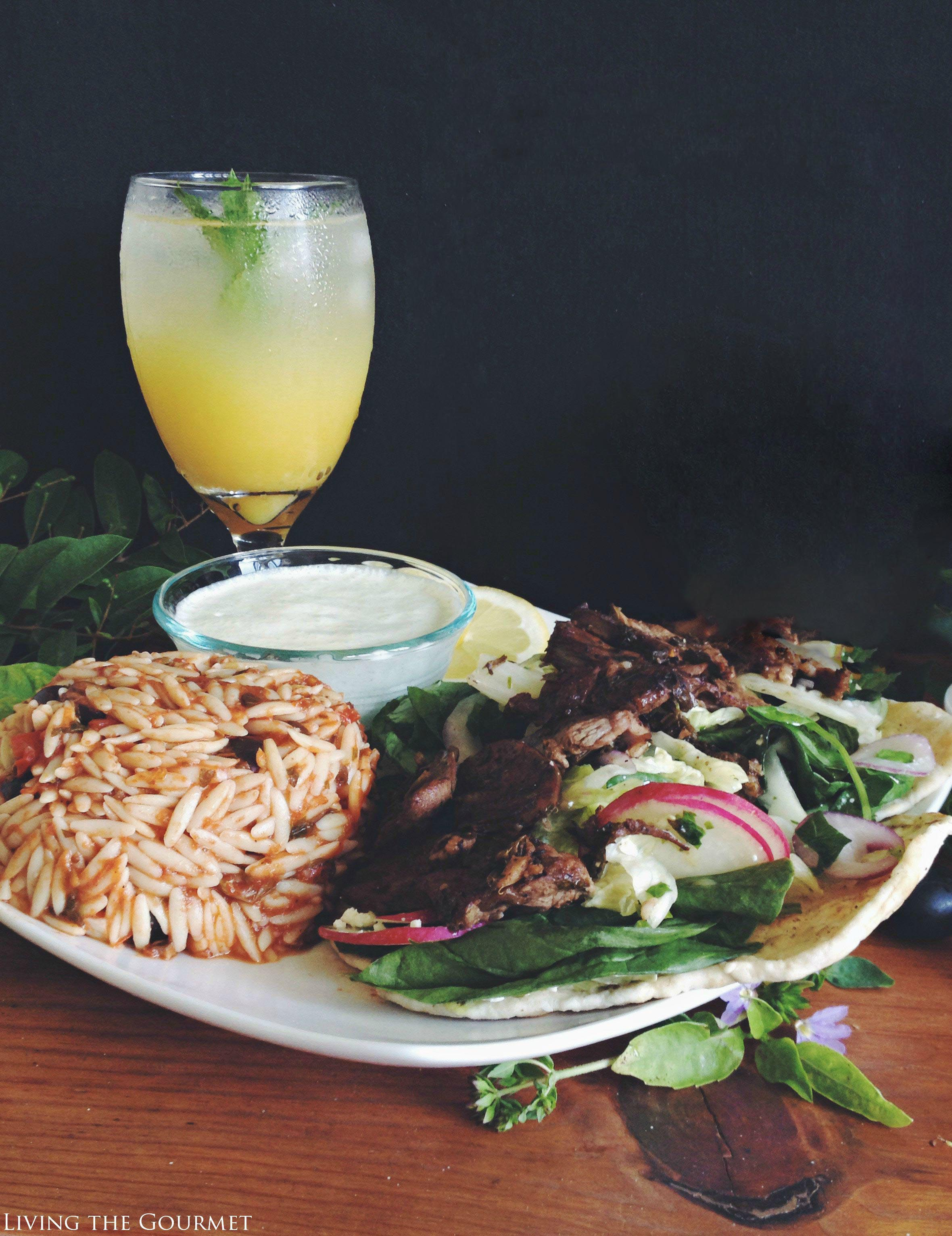 Living the Gourmet: Lamb Souvlaki & Black Olive Orzo | #CalOlivesMedRecipe