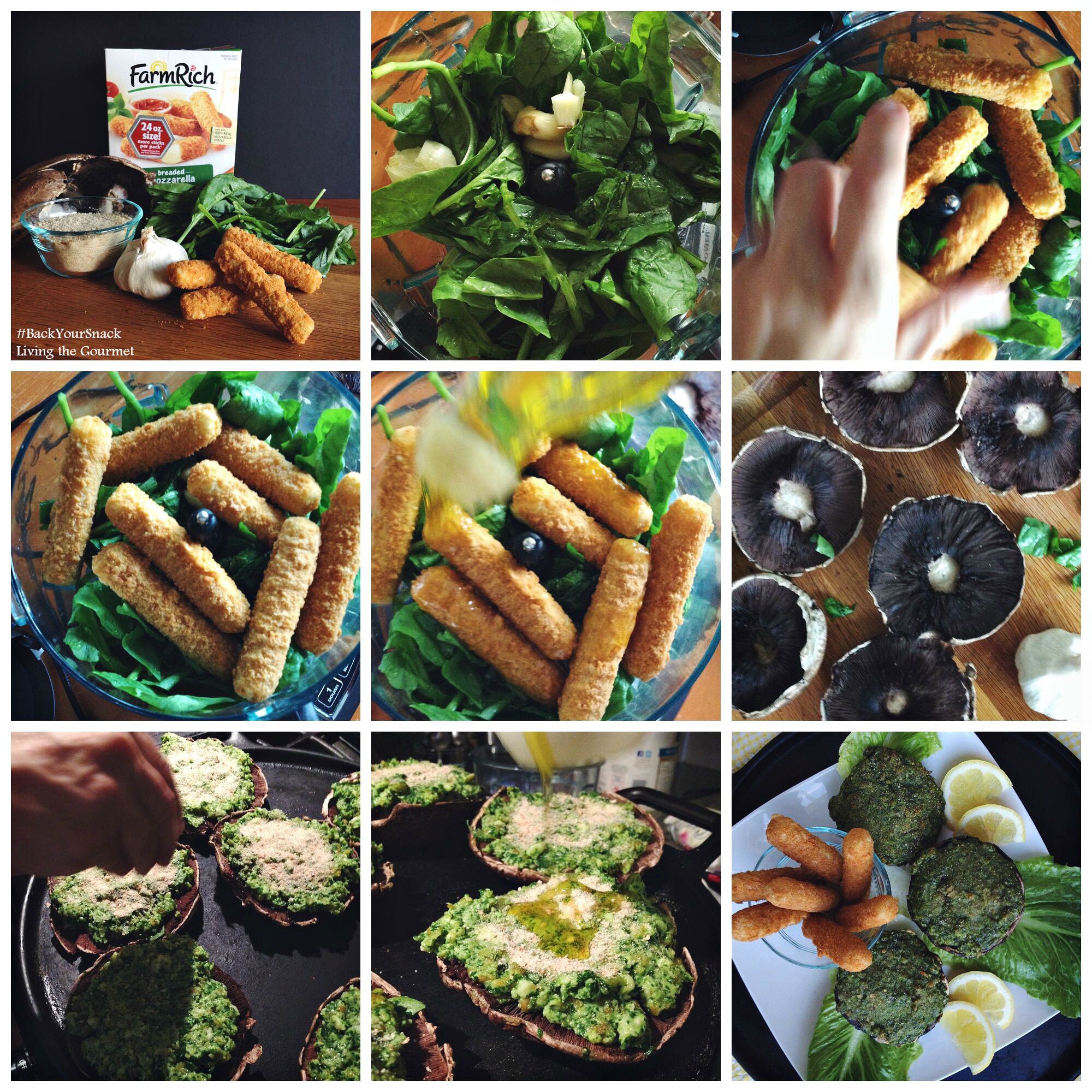 Living the Gourmet: Mozzarella & Spinach Stuffed Mushrooms | #BackYourSnack #ad