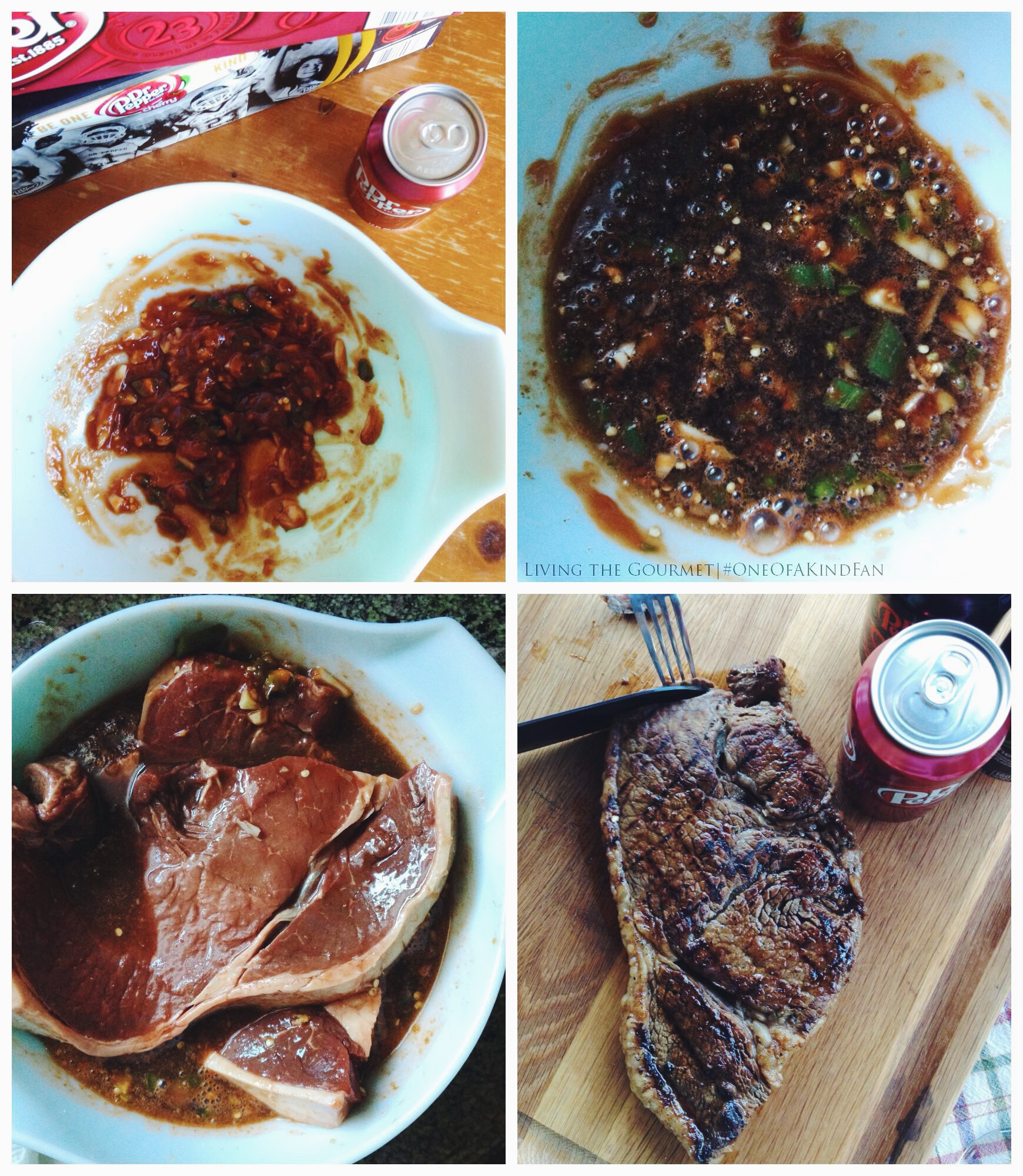 Living the Gourmet: Dr Pepper Sweet and Spicy Marinated Steaks | #OneOfAKindFan AD