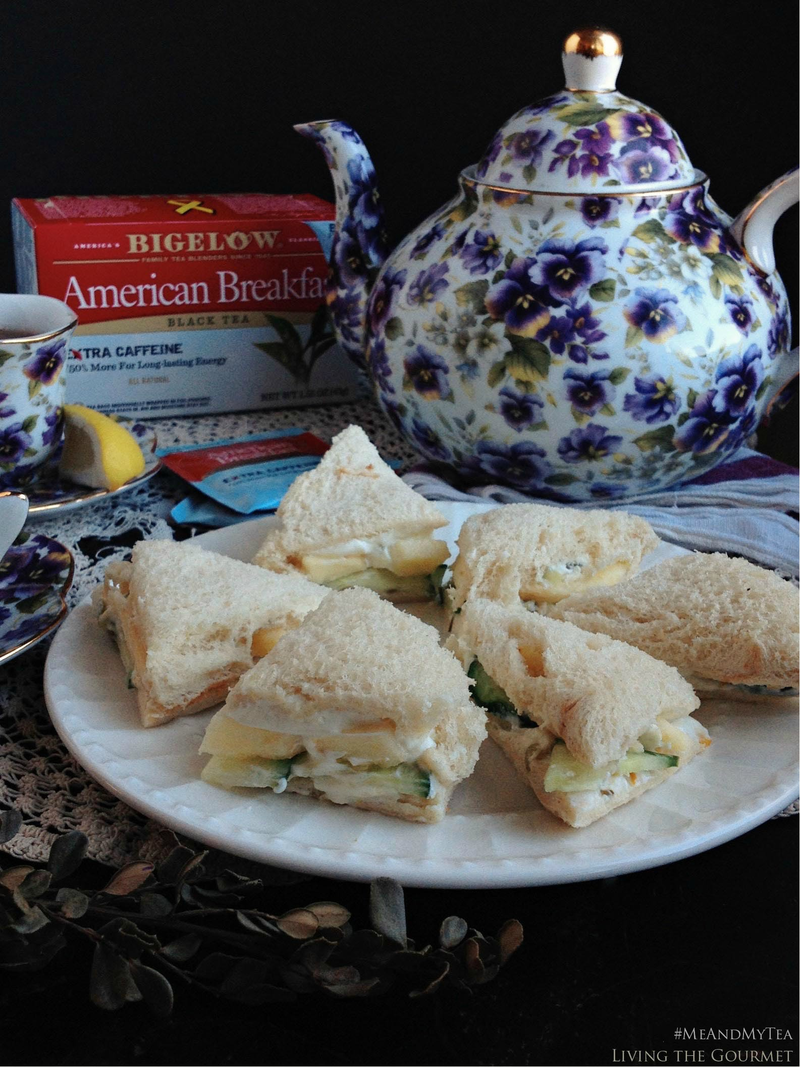 Living the Gourmet: Cucumber & Cream Cheese Tea Sandwiches | #SwapYourCup AD