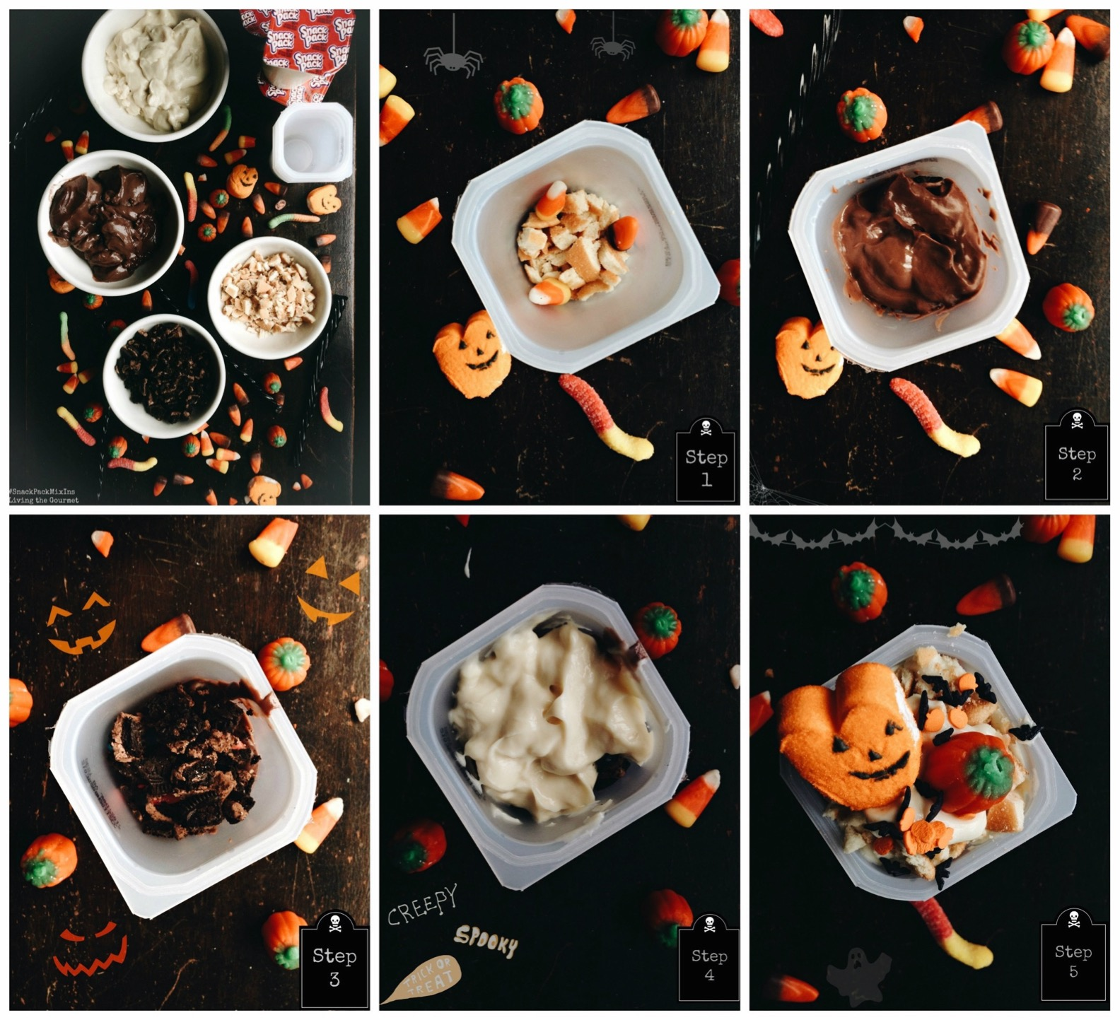 Living the Gourmet: Layered Halloween Pudding Cups | #SnackPackMixIns AD