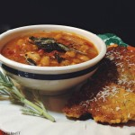 Spicy Pumpkin Soup with Polenta Cakes