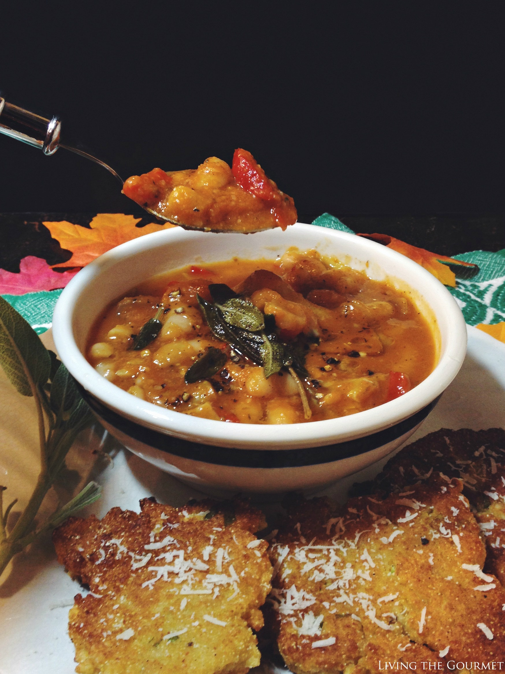 Living the Gourmet: Spicy Pumpkin Soup with Polenta Cakes