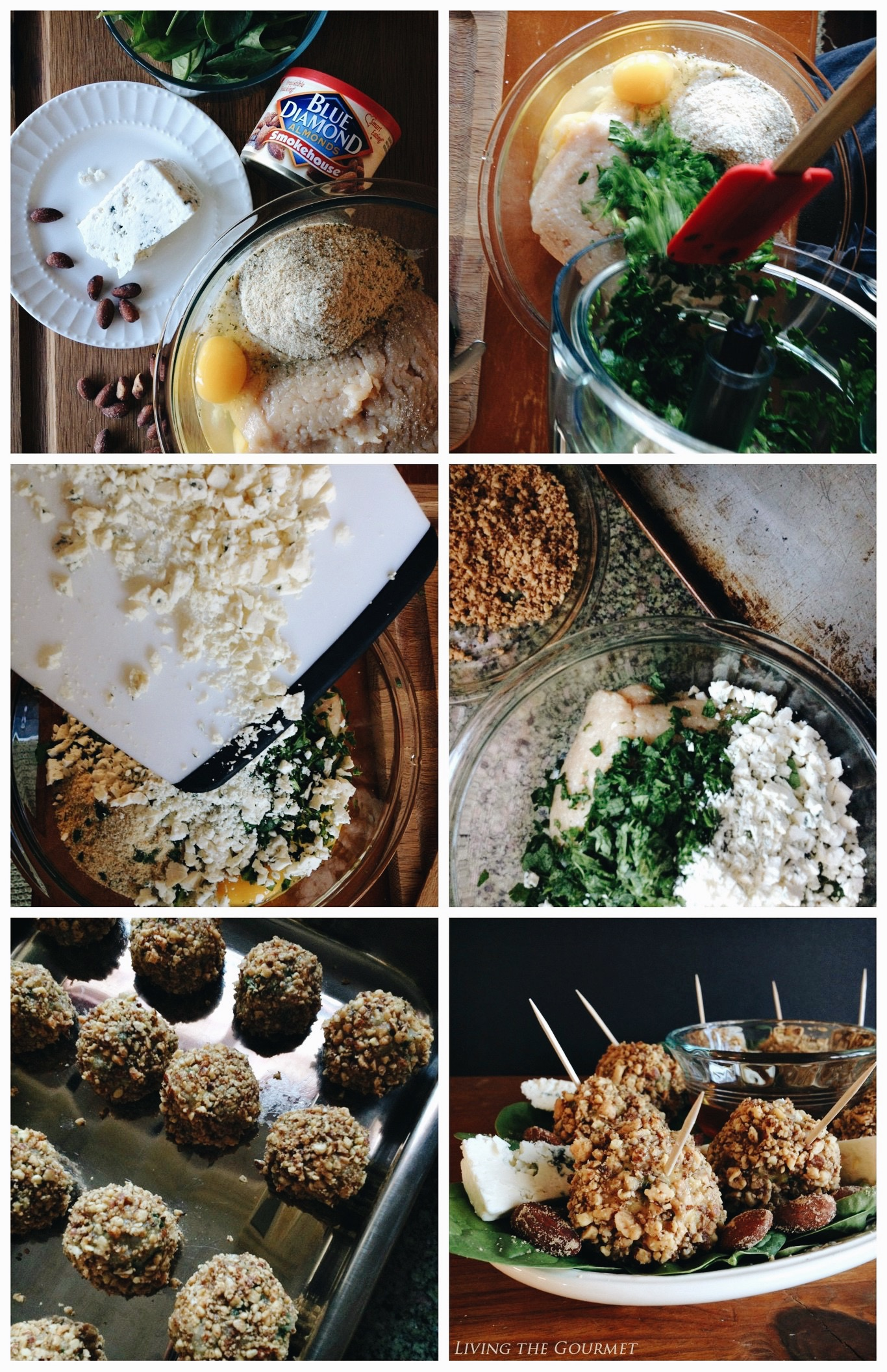 Living the Gourmet: Smokey Almond Crusted Blue Cheese Meatballs | #MezzettaMemories #ad