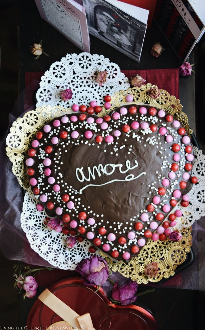 Living the Gourmet: Chocolate Fudge Heart Cake   #SendSweetness #Ad