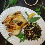 A Village Harvest Winter Feast featuring Sage and Rosemary Cornish Hens & Arborio Rice Pudding