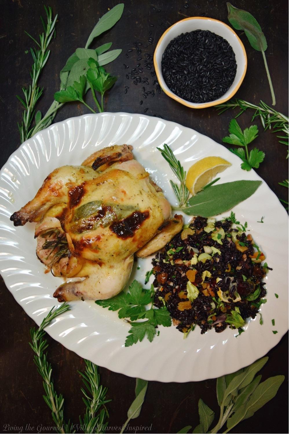 Living the Gourmet: Sage and Rosemary Cornish Hens | #VillageHarvestInspired