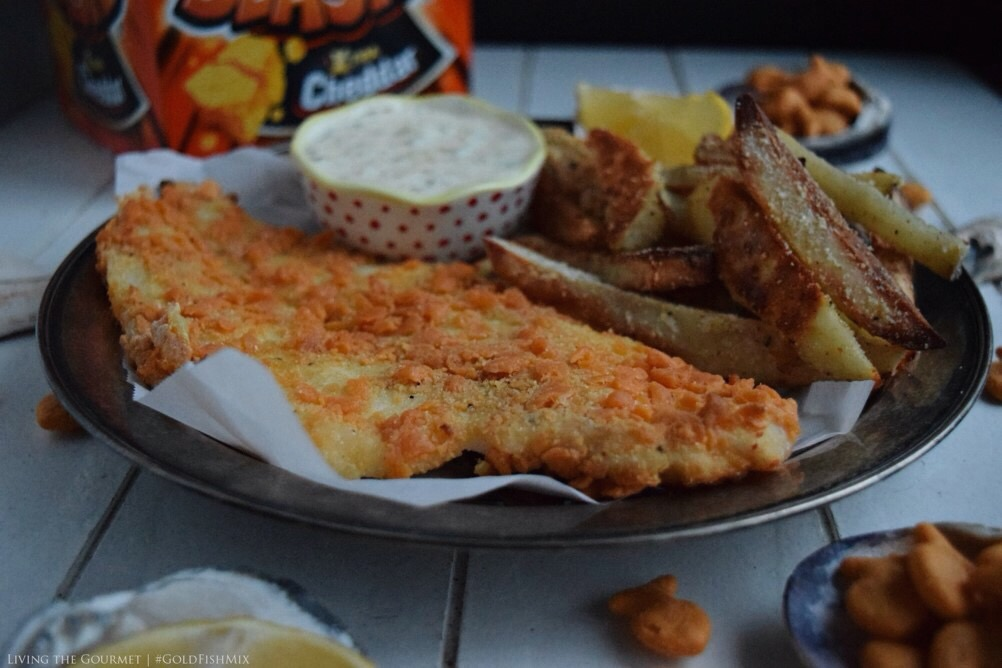 Goldfish crackers crusted baked fish and chips living for Baked fish and chips