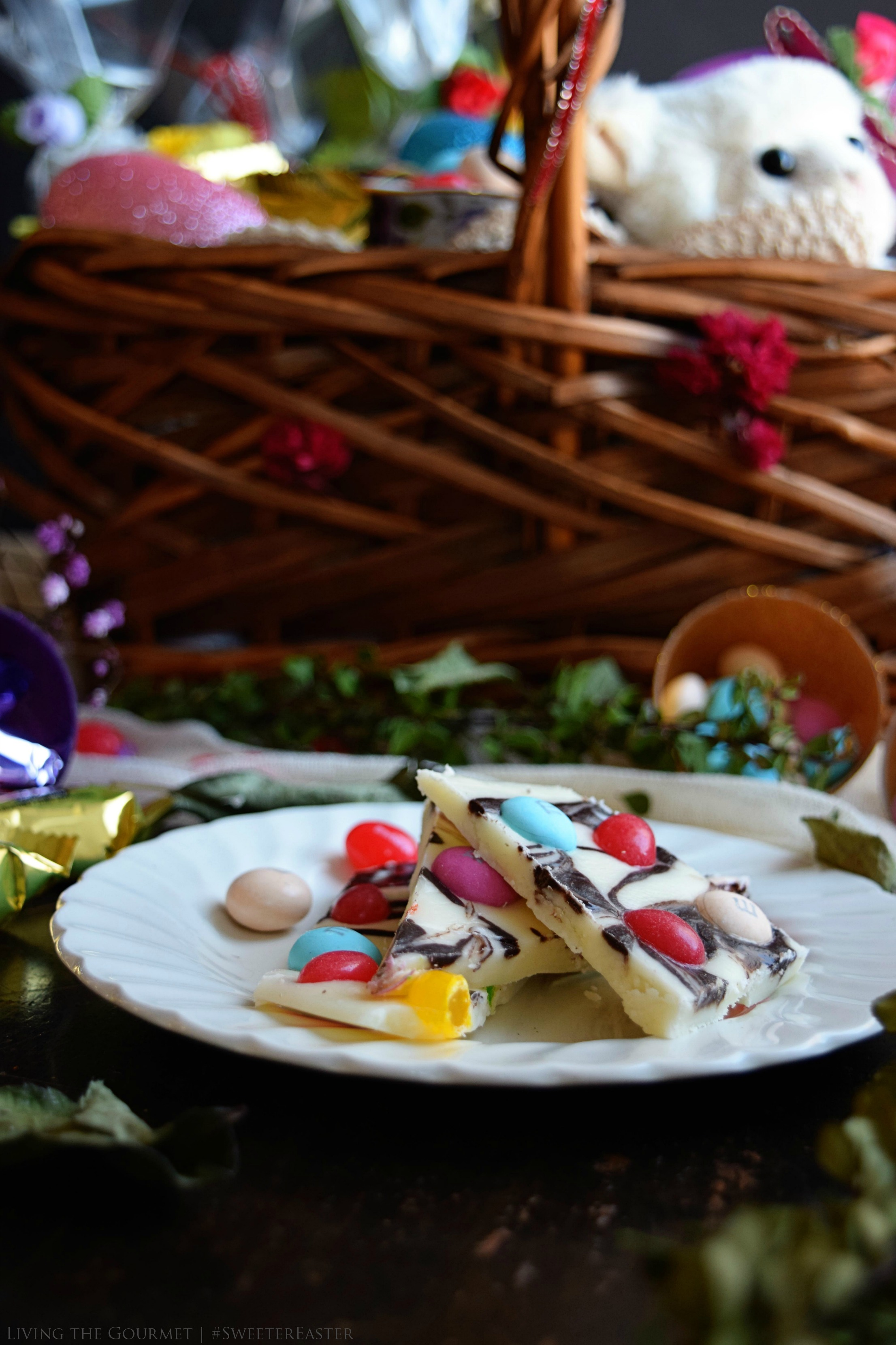 Living the Gourmet: Easter Fudge Bark   #SweeterEaster #Ad