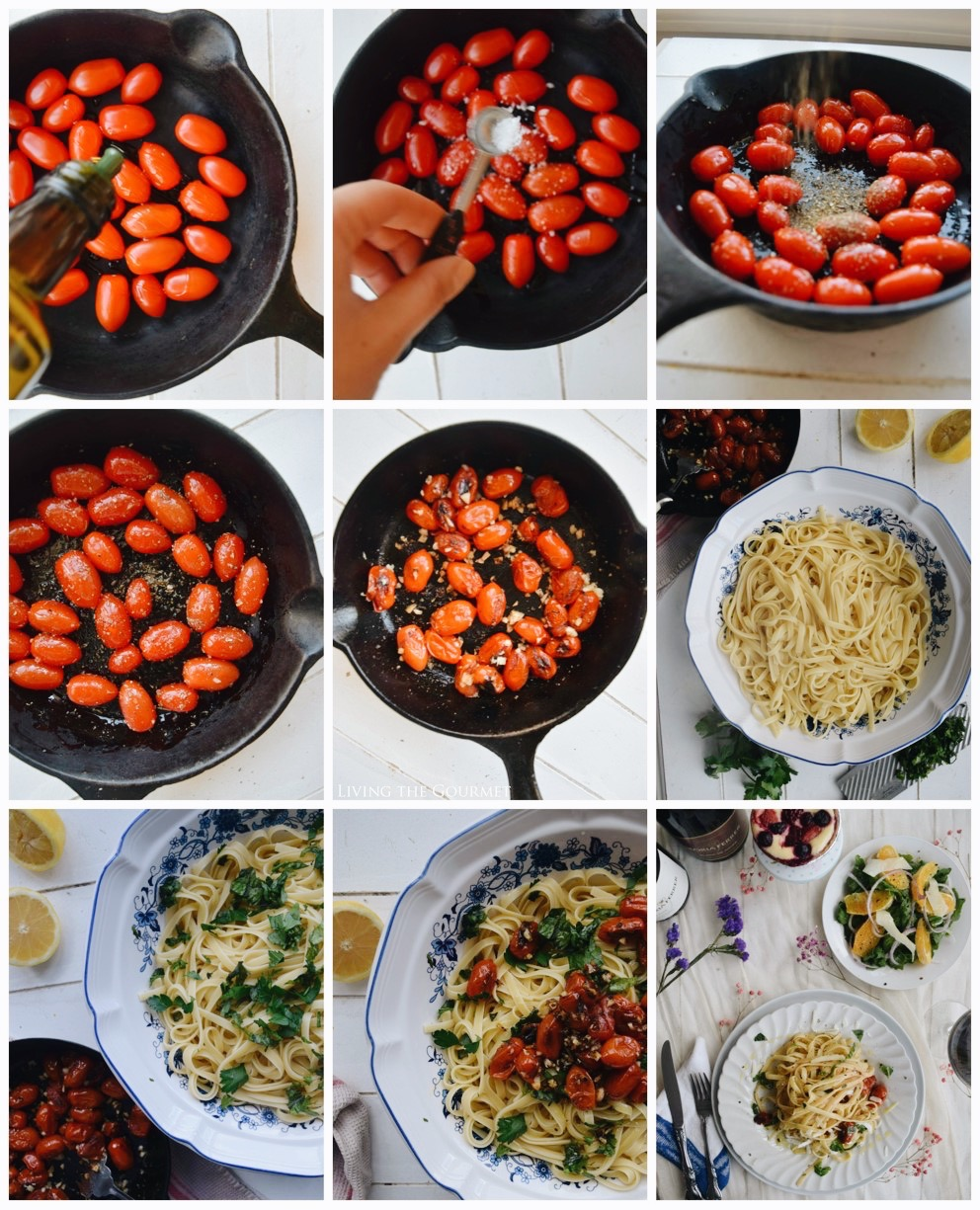 Living the Gourmet: Spring Linguine with Blistered Tomatoes & Basil | #GloriaFerrer #CleverGirls
