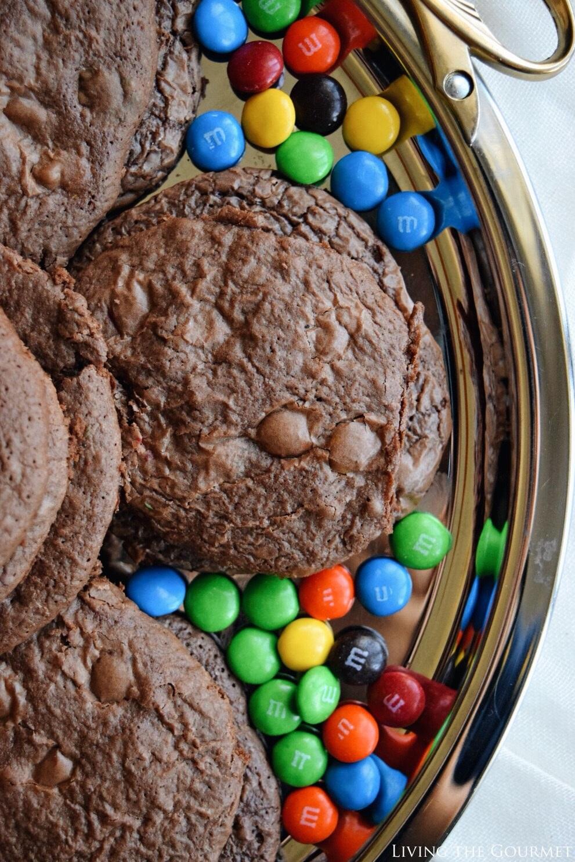 Living the Gourmet: Chocolate Brownie M&M's Cookies