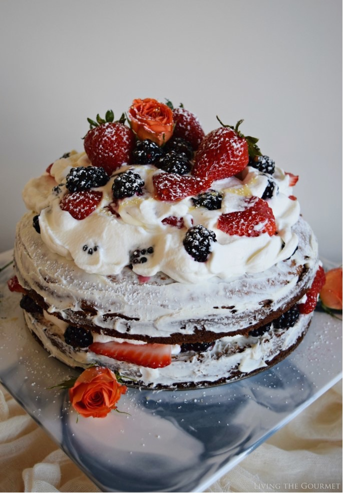 Living the Gourmet: Honey Spice Cake with Whipped Cream and Berries