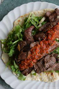Asian Style Sliced Steak with Fresh Bell Pepper Salsa