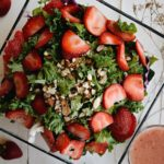 Kale Salad with Strawberry Vinaigrette featuring Freschetta Pizza