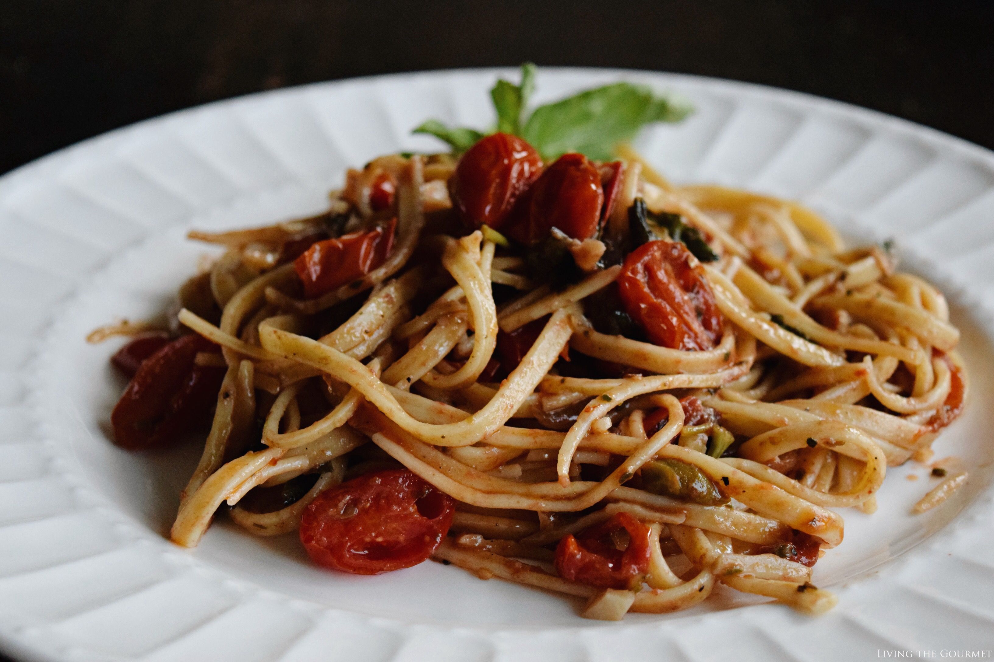 Living the Gourmet: Truffle Linguini with Fresh Tomatoes, Anchovies and Basil