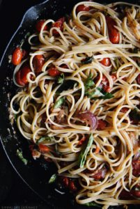 Truffle Linguini with Fresh Tomatoes, Anchovies and Basil