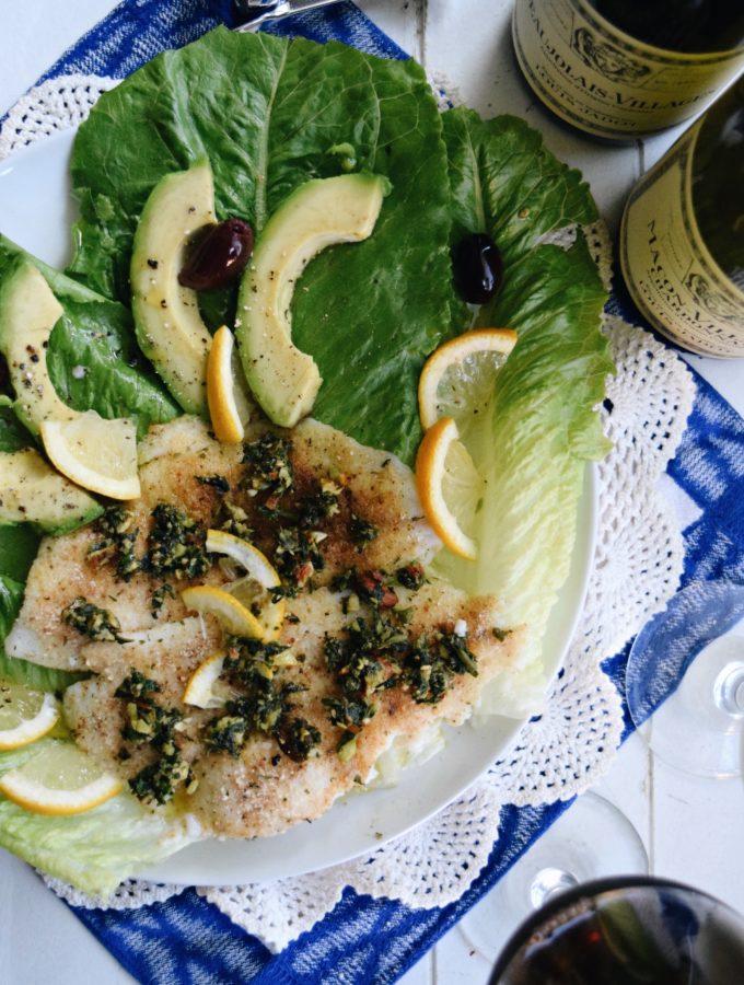 Living the Gourmet: Flounder Fillets with Pesto | #LoveJadot