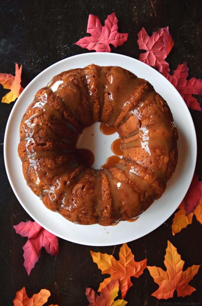 Living the Gourmet: Pumpkin Spice Cake with Caramel Drizzle