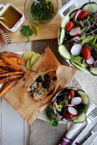 Fresh Garden Salad and Salmon with Garden Pesto