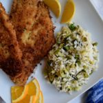 Panko Crusted Fish with Ginger Rice Salad