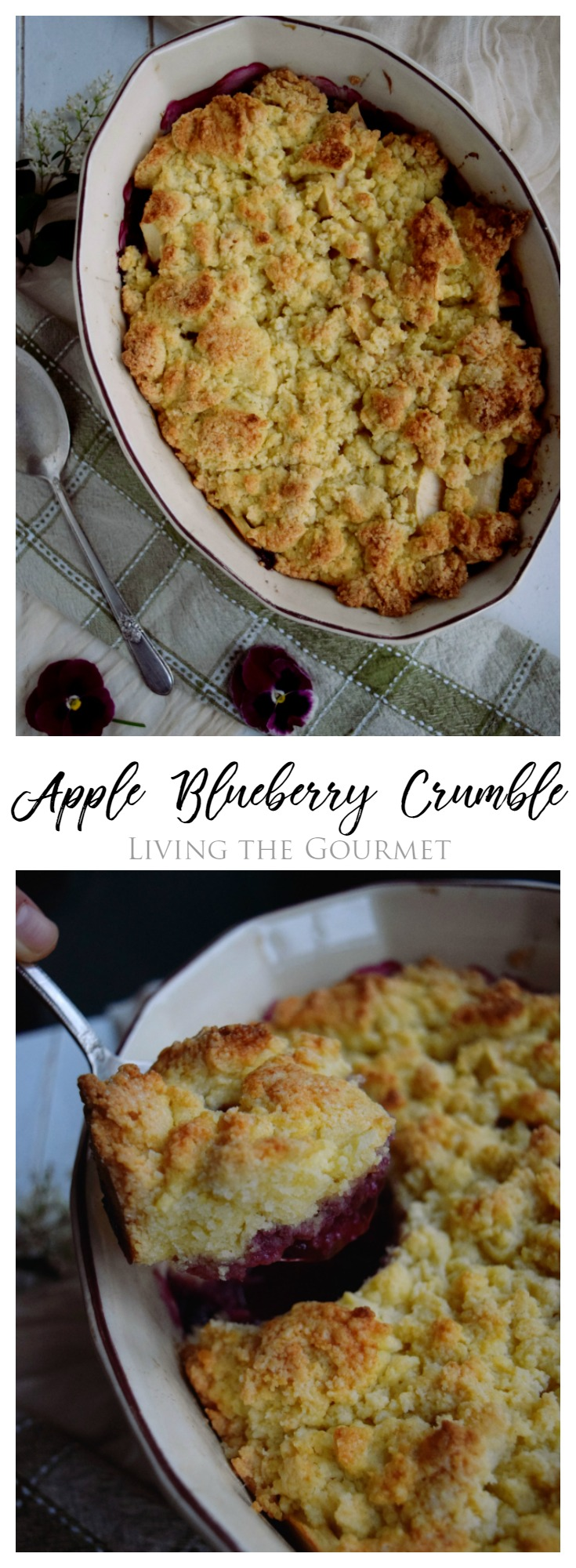 Apple Blueberry Crumble - Savor the sweetness of summer with this easy recipe bursting with blueberries mixed with apple slices then topped with a buttery crumble.